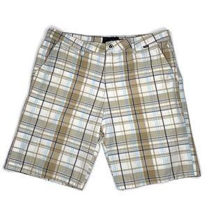 Hurley Khaki Plaid Shorts Size 34